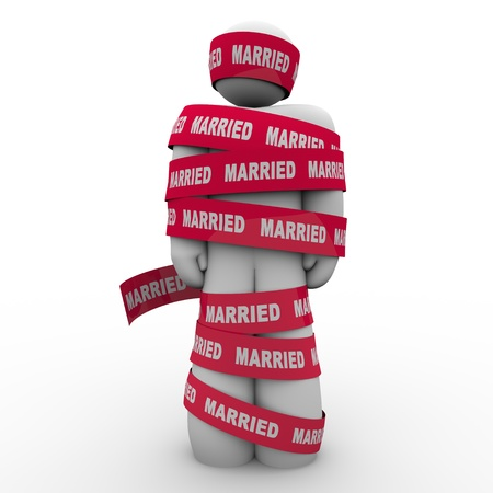 An unhappy man is wrapped in red tape with the word Married to illustrate being trapped or caught in an unhappy, unsuccessful marriage with no way out Imagens