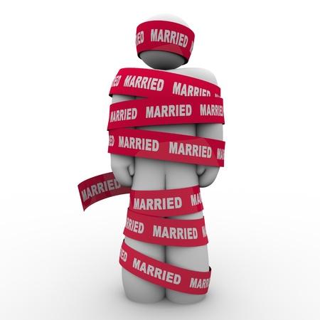 daremny: Nieszczęśliwy człowiek jest zawinięte w biurokracji ze słowem Married zilustrować uwięzienia lub złowionych w nieszczęśliwym, małżeństwa nieudanym bez wyjścia