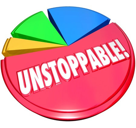unstoppable: Constant growth illustrated by a pie chart and a large and growing share with the word Unstoppable to illustrate consistent increases in your lead over the competition