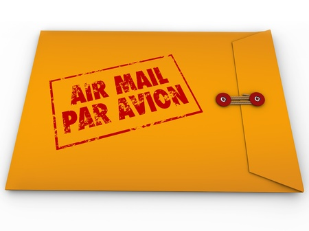 speedy: A yellow envelope stamed Air Mail Par Avion for express airmail delivery of an important message or letter Stock Photo