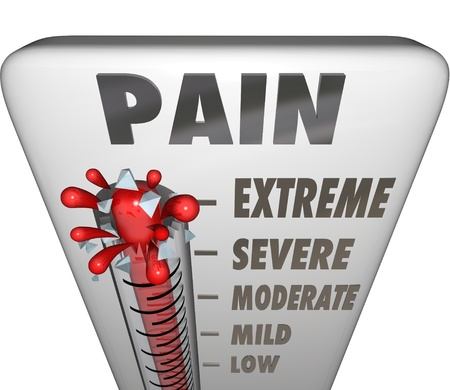pain: A thermometer measuring your pain level with mercury rising past low, mile, moderate, severe and bursting at the maxium level, Extreme Stock Photo