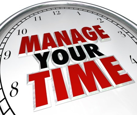 managing: Manage Your Time words on a clock face to illustrate time management and using moments effectively to be productive and complete tasks before a due date or deadline Stock Photo