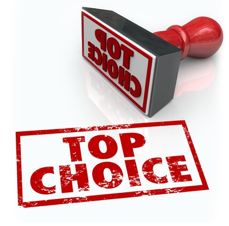 ultimate: The words Top Choice in a red stamp to illustrate best selection, ultimate company or service in a comment, review or feedback