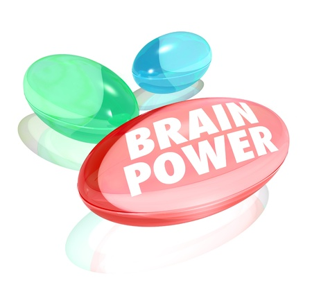 aptitude: The words Brain Power on pills, capsules or vitamins to illustrate natural or alternative supplement to boost your mental capacity, memory or intelligence