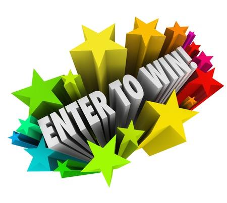 loteria: Las palabras Participe para Ganar en un estallido de fuegos artificiales de colores para ilustrar entrar o ganar un concurso, rifa o lotería en un bote o el dinero está en juego Foto de archivo