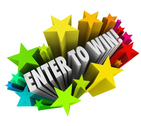 win money: The words Enter to Win in a starburst of colorful fireworks to illustrate entering or winning a contest, raffle or lottery where a jackpot or money is up for grabs