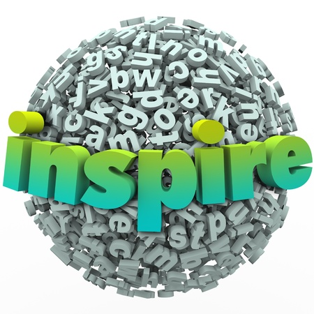 The word Inspire on a ball of 3d letters to illustrate learning and education from an inspirational teacher or coach Stock Photo - 21130988