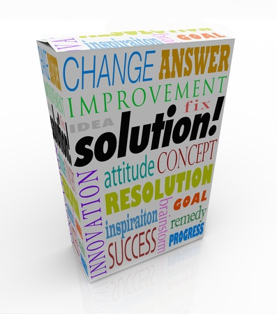 accomplishing: The word Solution on a product box to illustrate an off-the-shelf idea or innovation to solve your problem or challenge