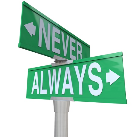 Never and Always on two green street or road signs to illustrate things you must or must not do 스톡 콘텐츠