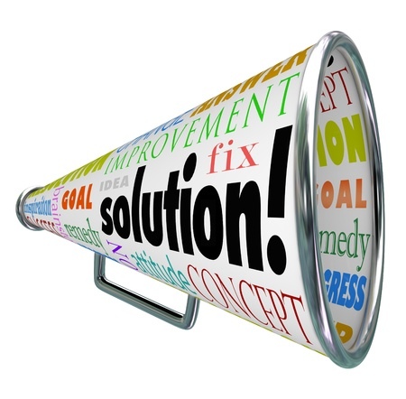 The word Solution on a product box to megaphone or bullhorn to spread an idea or innovation to solve your problem or challenge 写真素材