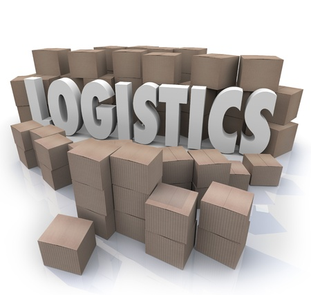 to manufacture: The word Logistics surrounded by cardboard boxes in a warehouse to illustrate shipping effiencies