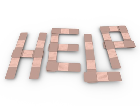 bandaid: The word Help spelled in bandages to aid someone in medical need, crisis or emergency Stock Photo