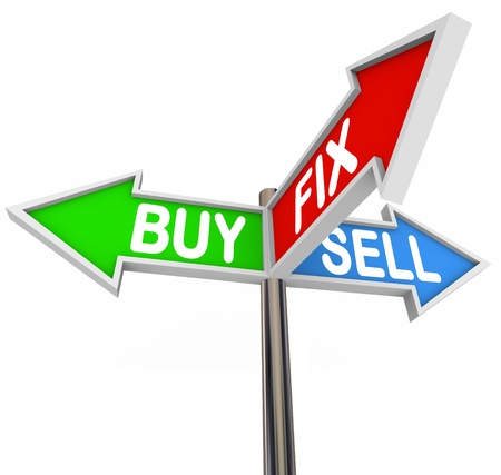 flip: The words Buy, Fix and Sell on three arrow signs to illustrate buying a house, fixing it and selling the house to a new buyer, or flipping real estate