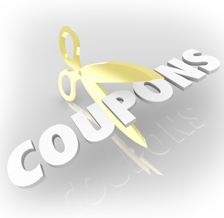 The word Coupons being cut out by scissors to illustrate special savings or deals to save money Stock Photo - 21521227