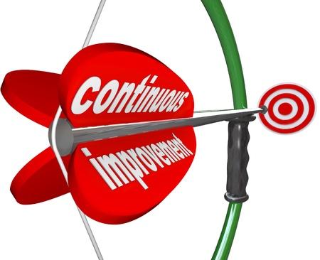 De woorden Continuous Improvement op een pijl Airmed door een boog op een doel om een constante stijging van de kwaliteit, vaardigheid, kennis of succes te illustreren