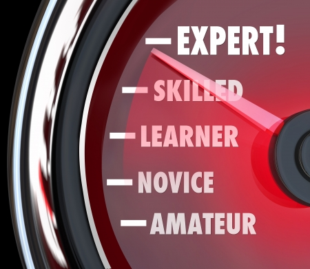novice: A speedometer or gauge tracking your progress in learning a skill, going from the level of amateur or novice to expert