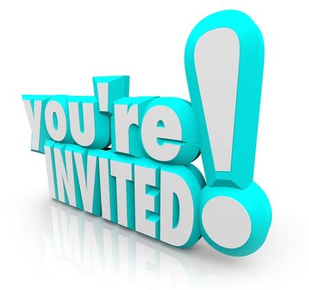 """apertura: Las palabras 3D """"le invitan"""" en invitarle formalmente a una fiesta u otro evento especial, reuni�n o ceremonia de inauguraci�n"""