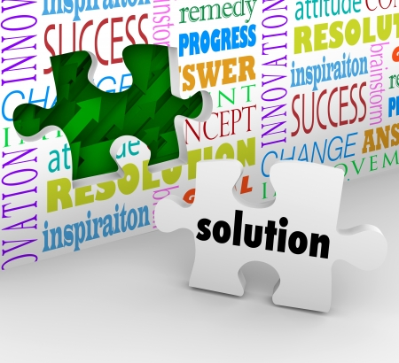 solved: A puzzle piece with the word Solution as the answer to a problem or solved challenge and a wall filled with words such as inspiration, resolution and innovation Stock Photo