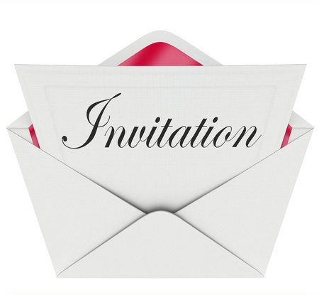 invited: The word Invitation on a card in an envelope formally inviting you to a party or other special event