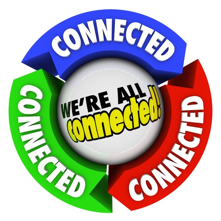 The word 'Connected' on arrows around a sphere with the saying 'We're All Connected' to illustrate humanity and people together in a community or society on the same team photo