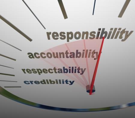 """vers  ¶hnung: A che oder Tachometer misst deine Erhöhung oder Verbesserung der Ebene der """"Responsibility, Accountability, Seriosität und Glaubwürdigkeit"""" Lizenzfreie Bilder"""