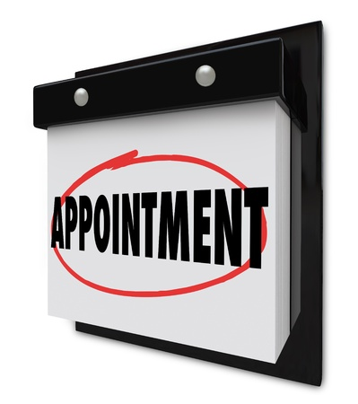 scheduled: The word Appointment circled on a wall calendar to remind you of an important event, meeting or scheduled interview or visit Stock Photo