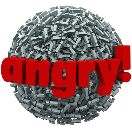 punctuate: The word Angry on a ball of exclamation points to illustrate mad feelings or emotion of fury Stock Photo