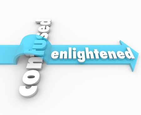 "The word ""Enlightened"" on an arrow over the word ""Confused"" to illustrate how enlightenment can lead the way to a peaceful life of understanding through knowledge or religion"