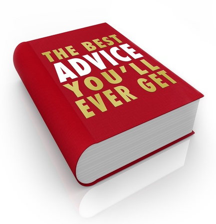 A red book with the title words The Best Advice Youll Ever Get to offer tips and suggestions for achieving success in career or life goals Фото со стока