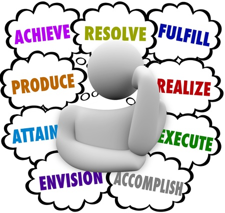 fulfill: The words Achieve, Accomplish, Attain, Produce, Resolve, Fulfill, Realize and Execute in thought clouds around a thinker wondering about new opportunities for success in life or career