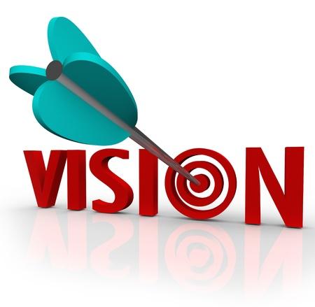 perceptive: La parola Vision con una freccia in un occhio di bue bersaglio per illustrare un punto di vista unico e concentrarsi sul successo