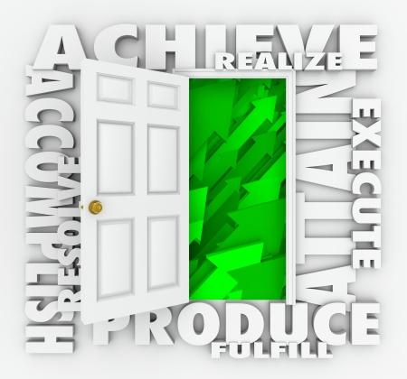 realiseren: Een deur omgeven door woorden illustratie van het succes, zoals bereiken, bereiken, produceren, op te lossen, bereiken, realiseren, uitvoeren en vervullen