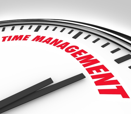 Pritizing your hours and minutes by scheduling important moments and events with clock marked Time Management Stock Photo - 21532309