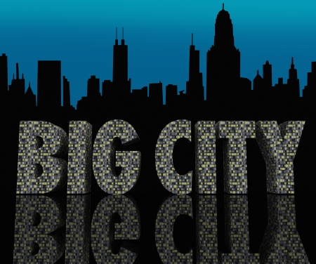 The words Big City made of skyscrapers against a metropolitan skyline of buildings in silhouette with a sunset sky behind it