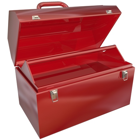 An empty red metal toolbox