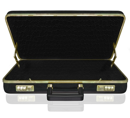 brief case: An empty black leather briefcase with space for your copy, message or contents inside