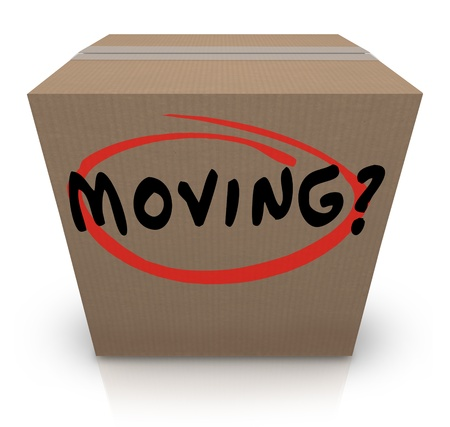 The word Moving on a cardboard box