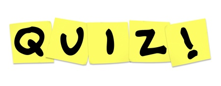 The word Quiz on yellow sticky notes photo