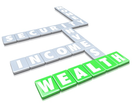 The words Wealth, Invest, Security, Money and Income on letter tiles from a board game Stock Photo - 21750440