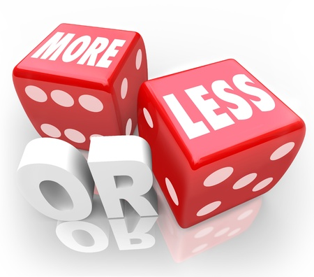 less: More or Less words on two red dice to illustrate a message of chance, betting, gambling, random, guessing, estimation or comparison of two items