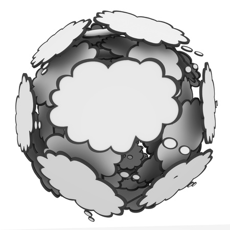 Many thought clouds in a sphere to illustrate many ideas, creativity, inspiration and imagination Stock Photo - 21819707