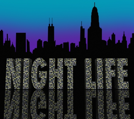 The words Night Life in skyscraper buildings in a city skyline to illustrate enjoyment, fun and entertainment in a big metropolis after hours Stock Photo - 21981574