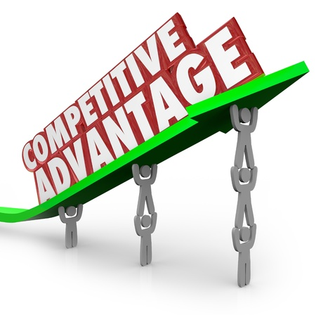 The words Competitive Advantage on an arrow lifted by a team working together to illustrate the better qualities of one product or company over a competitor Stock Photo - 21981577