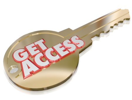 permission: The words Get Access on a gold key to illustrate special clearance, password, admittance or permission to go in an area or see exclusive content