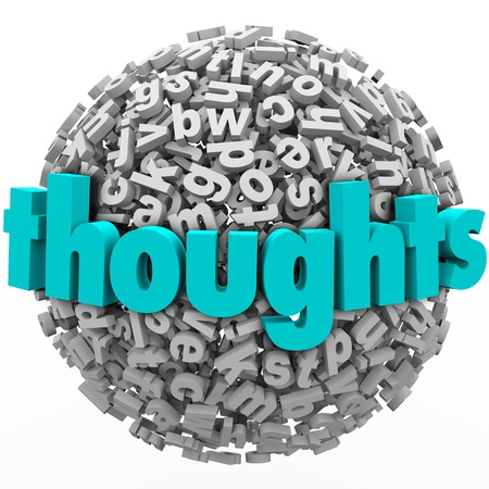Thoughts and ideas on improving a project, product or business illustrated by the word on a ball or sphere of 3d letters Stock Photo - 21981579