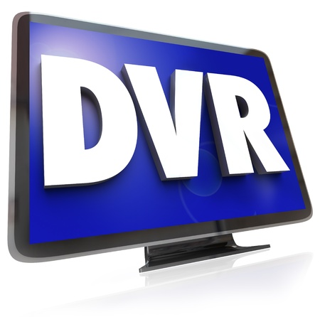 The letters or acronym DVR for digital video recorder allowing you to record and save programs to view when your schedule allows at a time that is convenient Stock Photo - 21981582