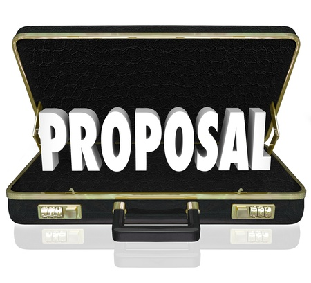 The word Proposal in an open briefcase to share a presentation during a sales call by a salesperson Stock Photo - 21981589