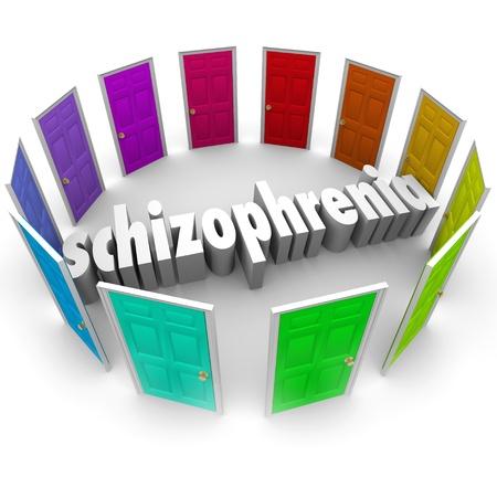 esquizofrenia: La palabra esquizofrenia rodeado de muchas puertas de colores para ilustrar el trastorno de personalidad múltiple