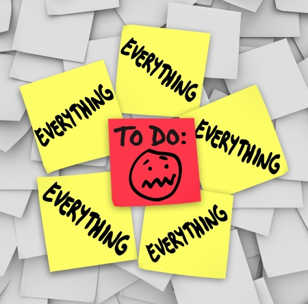 A to-do list on sticky notes with the word everything to illustrate how overwhelming the amount of tasks have you feeling Stock Photo - 21981591