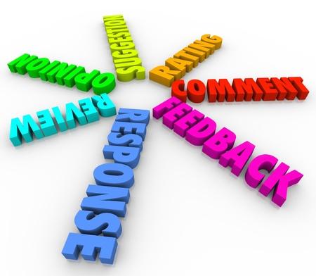 Een spiraal achtergrond van 3d woorden zoals feedback, Reactie, advies, Review, Waardering, Response en Suggestie Stockfoto